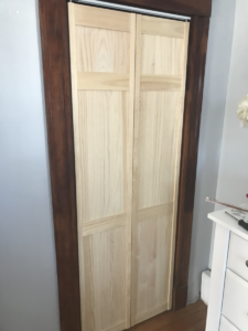 new bifold door installed in existing closet opening in woburn ma